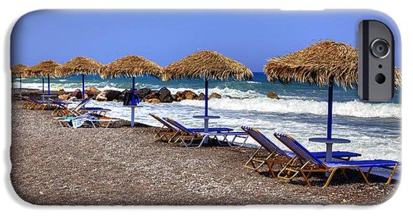 Crisis iPhone Cases - Kamari - Santorini iPhone Case by Joana Kruse