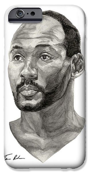 Utah Jazz iPhone Cases - Karl Malone iPhone Case by Tamir Barkan