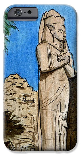 Temple Paintings iPhone Cases - Karnak Temple Egypt iPhone Case by Irina Sztukowski