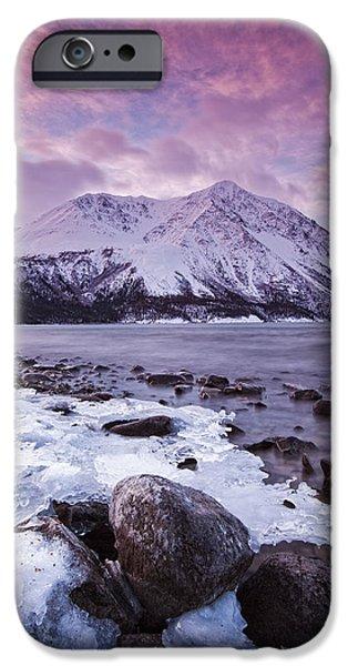 Kathleen iPhone Cases - Kathleen Lake At Sunrise, Kluane iPhone Case by Robert Postma