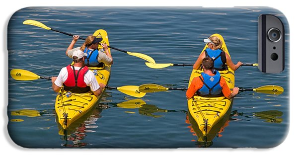 Kayak iPhone Cases - Kayakers in Bar Harbor Maine iPhone Case by Louise Heusinkveld