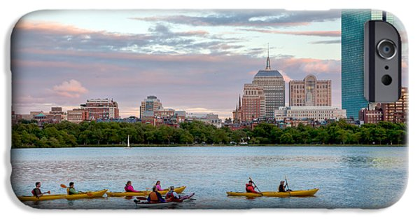 Charles River iPhone Cases - Kayaking on the Charles iPhone Case by Susan Cole Kelly