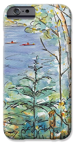 Kayak iPhone Cases - Kayaks On The Lake iPhone Case by Pat Katz