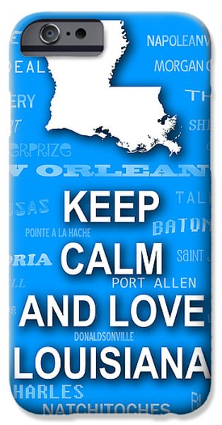 Baton Rouge iPhone Cases - Keep Calm and Love Louisiana State Map City Typography iPhone Case by Keith Webber Jr