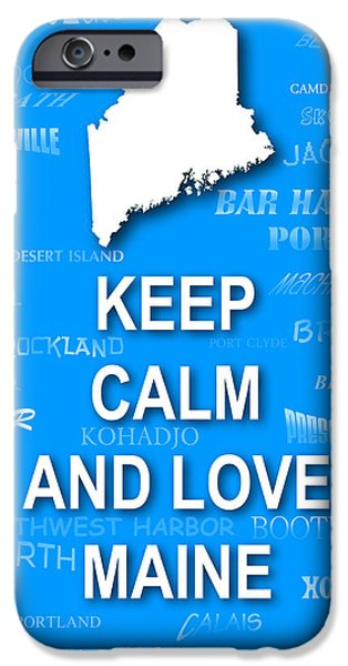 Augusta iPhone Cases - Keep Calm and Love Maine State Map City Typography iPhone Case by Keith Webber Jr