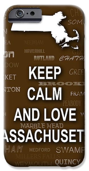 Cambridge iPhone Cases - Keep Calm and Love Massachusetts State Map City Typography iPhone Case by Keith Webber Jr