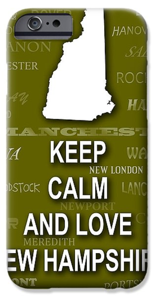 Concord iPhone Cases - Keep Calm and Love New Hampshire State Map City Typography iPhone Case by Keith Webber Jr