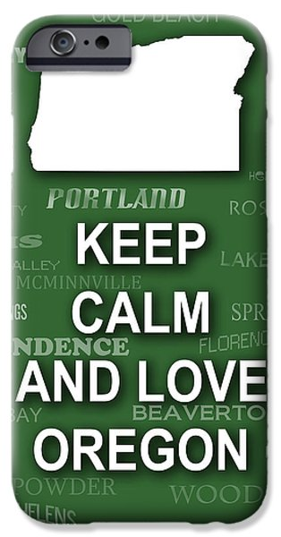 Jordan iPhone Cases - Keep Calm and Love Oregon State Map City Typography iPhone Case by Keith Webber Jr