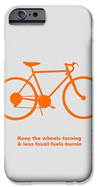 Bicycles iPhone Cases - Keep the wheels turning iPhone Case by Naxart Studio