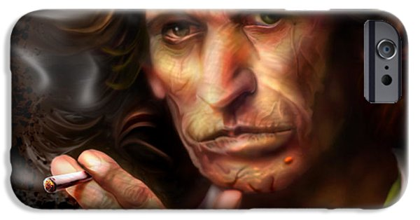 Keith Richards iPhone Cases - Keith Richards1-Burning lights 4 iPhone Case by Reggie Duffie