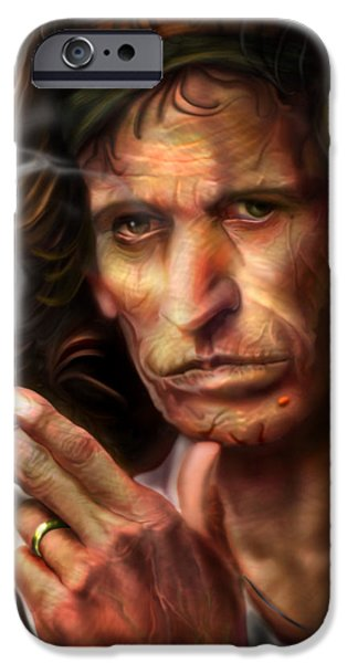 Keith Richards1-Burning lights 4 iPhone Case by Reggie Duffie