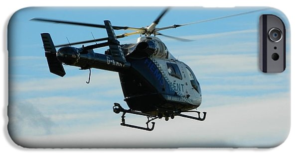 Helicopter iPhone Cases - Kent air ambulance iPhone Case by Sharon Lisa Clarke