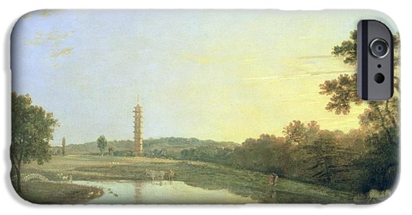 Garden Scene iPhone Cases - Kew Gardens - The Pagoda and Bridge iPhone Case by Richard Wilson