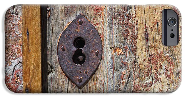 Rust Photographs iPhone Cases - Key hole iPhone Case by Carlos Caetano