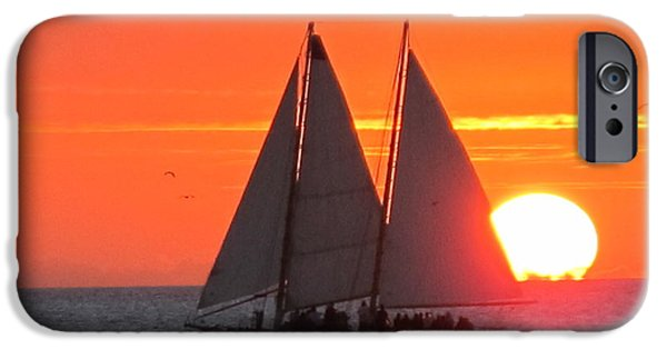 Sailboat Pyrography iPhone Cases - Key West Sunset iPhone Case by Valia Bradshaw