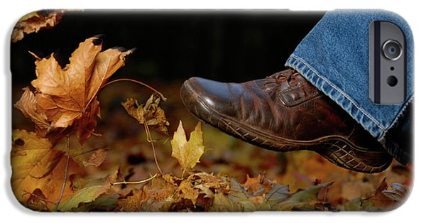 Nature Scene iPhone Cases - Kicking Fallen Autumn Leaves iPhone Case by Oleksiy Maksymenko