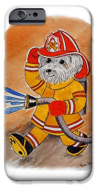 Kids Art Paintings iPhone Cases - Kids Art FireDog Firefighter  iPhone Case by Irina Sztukowski