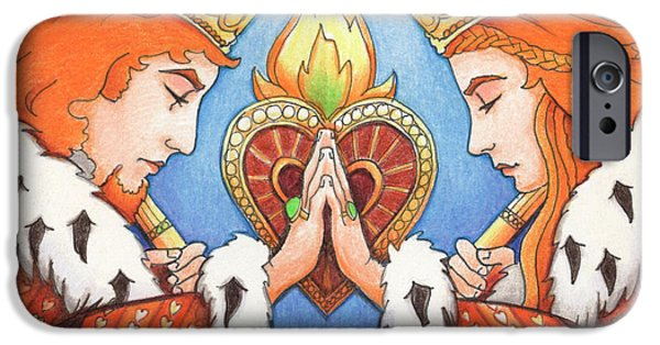 Color Drawings iPhone Cases - King and Queen of Hearts iPhone Case by Amy S Turner