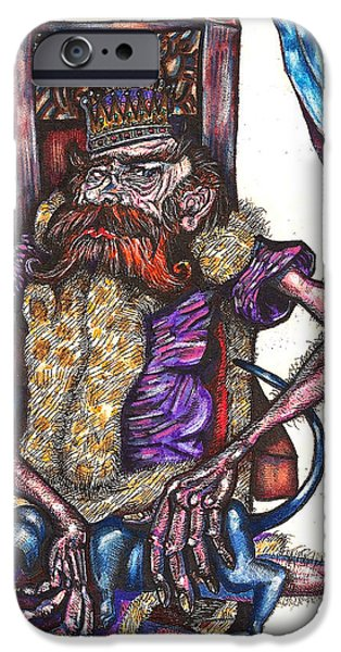 King Crabclaw and His Blue Dachshund iPhone Case by Al Goldfarb