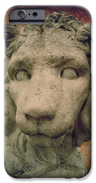 Statue Portrait Mixed Media iPhone Cases - King Lion iPhone Case by Angela Doelling AD DESIGN Photo and PhotoArt