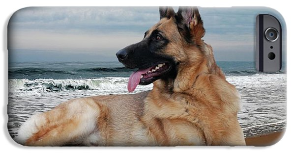 Canines Digital Art iPhone Cases - King Of The Beach - German Shepherd Dog iPhone Case by Angie Tirado