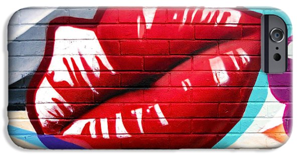 Lips iPhone Cases - Kiss Me Now ... iPhone Case by Juergen Weiss