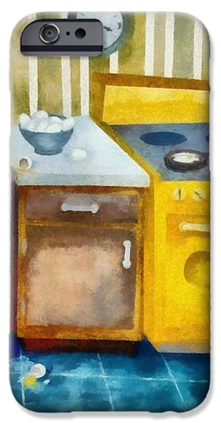 Skewed iPhone Cases - Kitchen with Broken Eggs iPhone Case by Michelle Calkins