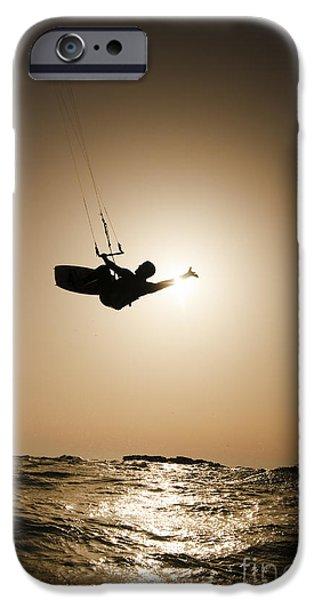 Kiteboarding iPhone Cases - Kitesurfing at sunset iPhone Case by Hagai Nativ