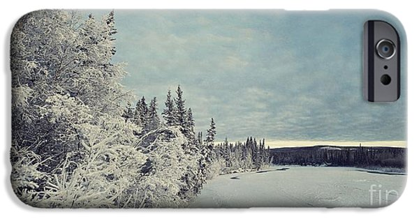 Wintertime iPhone Cases - KlondikeRiver iPhone Case by Priska Wettstein