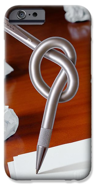 Problems iPhone Cases - Knot on Pen iPhone Case by Carlos Caetano