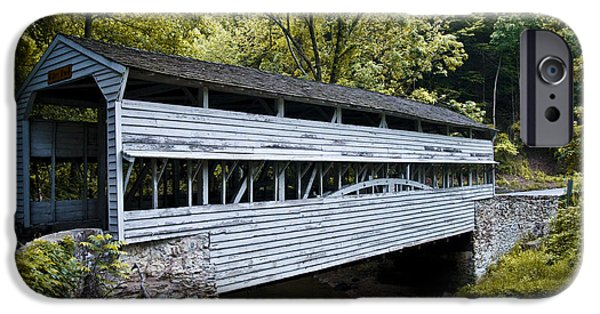 Covered Bridge iPhone Cases - Knox Covered Bridge - Valley Forge iPhone Case by Bill Cannon