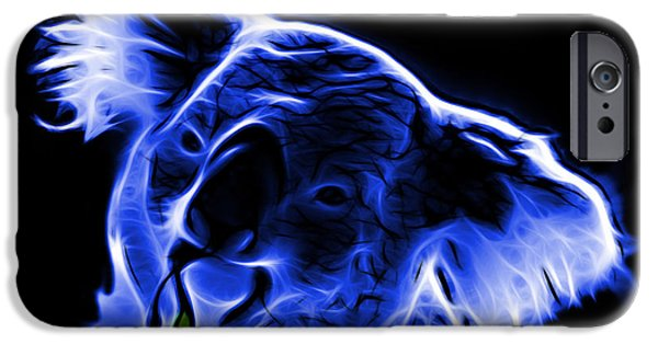 Koala Digital Art iPhone Cases - Koala Pop Art - Blue iPhone Case by James Ahn