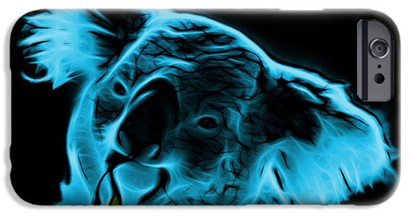 Koala Digital Art iPhone Cases - Koala Pop Art - Cyan iPhone Case by James Ahn
