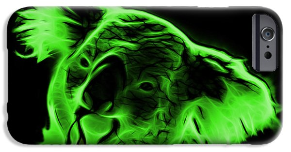 Koala Digital Art iPhone Cases - Koala Pop Art - Green iPhone Case by James Ahn