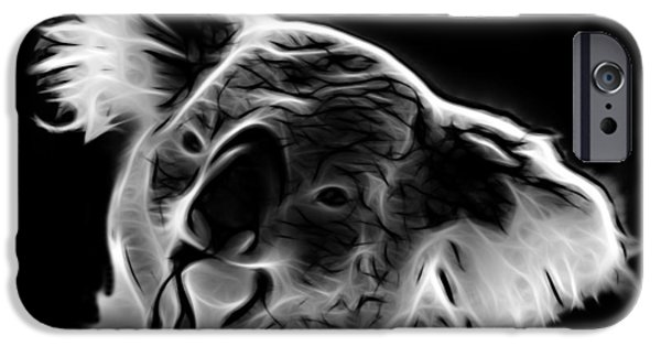 Koala Digital Art iPhone Cases - Koala Pop Art - Greyscale iPhone Case by James Ahn
