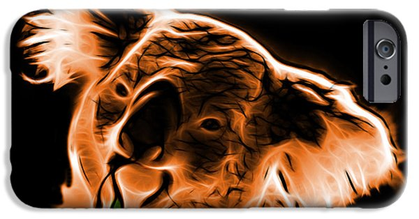 Koala Digital Art iPhone Cases - Koala Pop Art - Orange iPhone Case by James Ahn