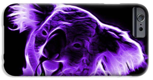 Koala Digital Art iPhone Cases - Koala Pop Art - Violet iPhone Case by James Ahn