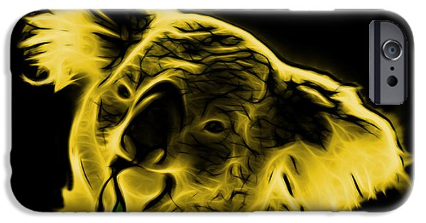 Koala Digital Art iPhone Cases - Koala Pop Art - Yellow iPhone Case by James Ahn