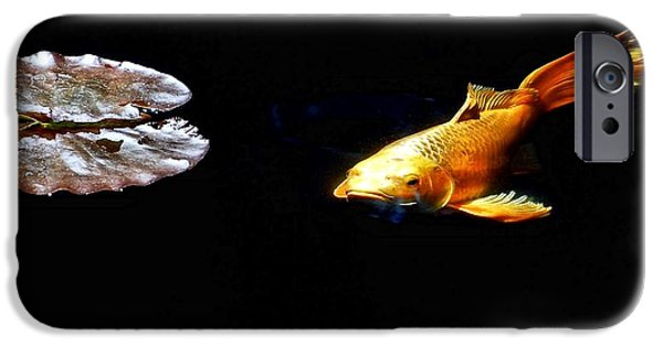 Butterfly Koi Photographs iPhone Cases - Koi and Lillies iPhone Case by Don Mann
