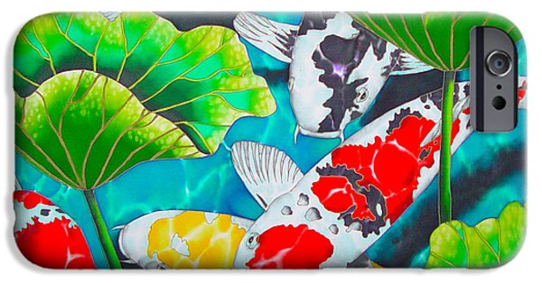 Plant Tapestries - Textiles iPhone Cases - Koi and Lotus iPhone Case by Daniel Jean-Baptiste