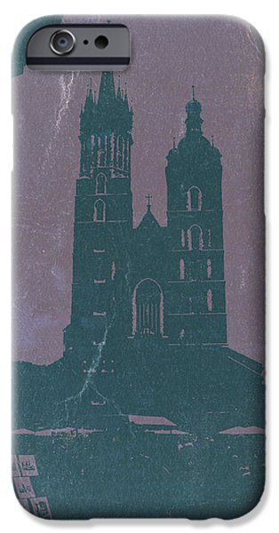 Towns Digital Art iPhone Cases - Krakow iPhone Case by Naxart Studio