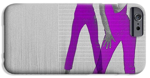 Woman Digital iPhone Cases - Kristina in purple iPhone Case by Naxart Studio