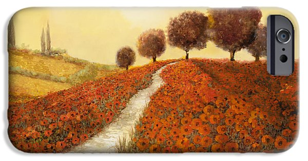Fields iPhone Cases - La Collina Dei Papaveri iPhone Case by Guido Borelli