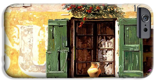 Window Paintings iPhone Cases - la finestra di Sue iPhone Case by Guido Borelli