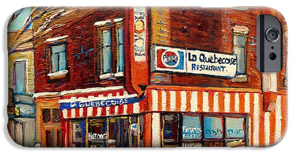 A Hot Summer Day iPhone Cases - La Quebecoise Restaurant Deli iPhone Case by Carole Spandau
