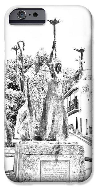 La Rogativa Sculpture Old San Juan Puerto Rico Black and White Line Art iPhone Case by Shawn O'Brien