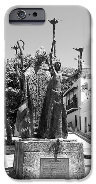 La Rogativa Sculpture Old San Juan Puerto Rico Black and White iPhone Case by Shawn O'Brien