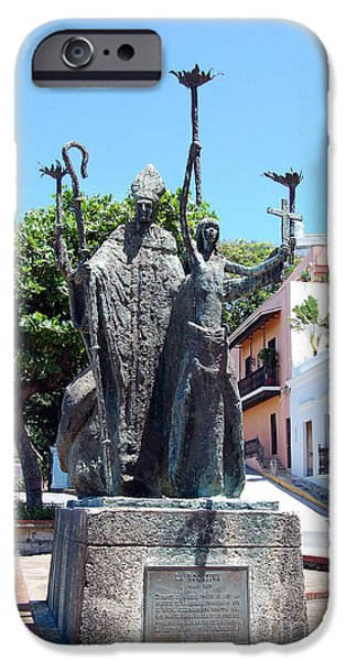 La Rogativa Sculpture Old San Juan Puerto Rico iPhone Case by Shawn O'Brien