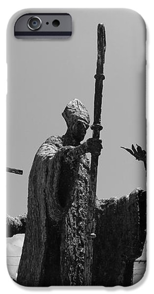 La Rogativa Statue Old San Juan Puerto Rico Black and White iPhone Case by Shawn O'Brien