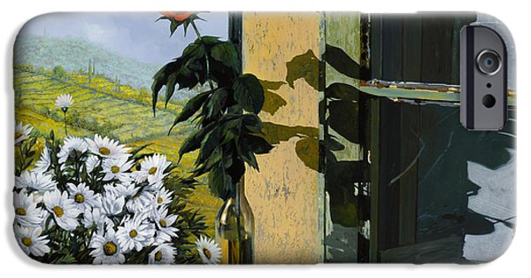 Summer Light iPhone Cases - La Rosa Alla Finestra iPhone Case by Guido Borelli